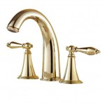 Wovier W-8401-G Widespread Bathroom Sink Faucet, Gold Two Handle Three Hole