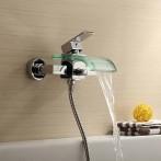 Wovier W-8702-C Waterfall Glass Bathtub Faucet, Chrome Wall Mount Tub Mixer Taps