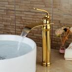Wovier W-8293-G Waterfall Bathroom Sink Faucet, Gold Tall Body