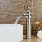 Wovier W-8293-BN Waterfall Bathroom Sink Faucet, Brushed Nickel  Tall Body
