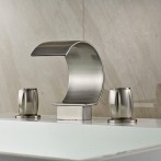 Wovier W-8427-BN Widespread Bathroom Sink Faucet, Brushed Nickel Two Handle Three Hole