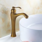 Wovier W-8262-A Waterfall Bathroom Sink Faucet, Antique Brass Tall Body