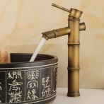 Wovier W-8277-A Waterfall Bathroom Sink Faucet, Antique Brass Tall Body