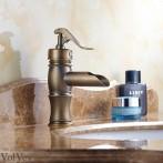 Wovier W-8288-A Waterfall Bathroom Sink Faucet, Antique Brass Short Body
