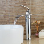 Wovier W-8293-C Waterfall Bathroom Sink Faucet, Chrome Tall Body