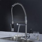 Wovier W-8501-C Pull Out Kitchen Faucet, Chrome Taps With Two Spout