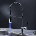 Wovier W-8514-C LED Pull Out Kitchen Faucet Water Flow, Chrome Tall Body