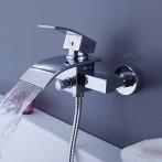 Wovier W-8704-C Waterfall Bathtub Faucet, Chrome Wall Mount Tub Mixer Taps