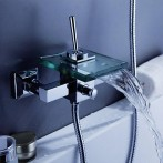Wovier W-8701-C Waterfall Glass Bathtub Faucet, Two Hole One Handle Wall Mount Tub Mixer Tap