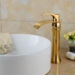 Wovier W-8241-G Waterfall Bathroom Sink Faucet,  Gold Tall Body