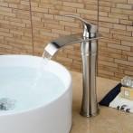 Wovier W-8241-BN Waterfall Bathroom Sink Faucet,  Brushed Nickel Tall Body