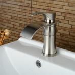 Wovier W-8242-BN Waterfall Bathroom Sink Faucet, Brushed Nickel Short Body