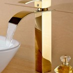 Wovier W-8227-G Waterfall Bathroom Sink Faucet, Gold
