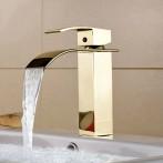 Wovier W-8228-G Waterfall Bathroom Sink Faucet, Gold