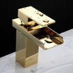 Wovier W-8230-G Waterfall Bathroom Sink Faucet, Gold Short Body