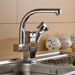 Wovier W-8507-C Pull Out Kitchen Faucet, Chrome Cold/Hot Mixer Tap Two Spout