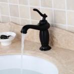 Wovier W-8257-ORB Waterfall Bathroom Sink Faucet, Oil Rubber Bronze Short Body