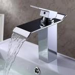 Wovier W-8224-C Waterfall Bathroom Sink Faucet, Chrome Tall Body
