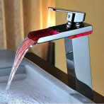 Wovier W-8229L-C LED Waterfall Bathroom Sink Faucet, Chrome Tall Body