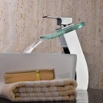Wovier W-8105-C Waterfall Bathroom Sink Faucet, Chrome Tall Body