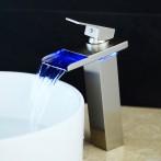 Wovier W-8229L-BN LED Waterfall Bathroom Sink Faucet, Brushed Nickel Tall Body