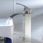 Wovier W-8227-BN Waterfall Bathroom Sink Faucet, Brushed Nickel
