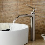 Wovier W-8367-BN Waterfall Bathroom Sink Faucet, Brushed Nickel Short Body