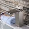 Wovier W-8226-BN Waterfall Bathroom Sink Faucet, Brushed Nickel Short Tall
