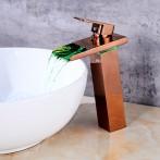 Wovier W-8229L-RG LED Waterfall Bathroom Sink Faucet, Rose Gold Tall Body