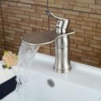 Wovier W-8365-BN Waterfall Bathroom Sink Faucet, Brushed Nickel