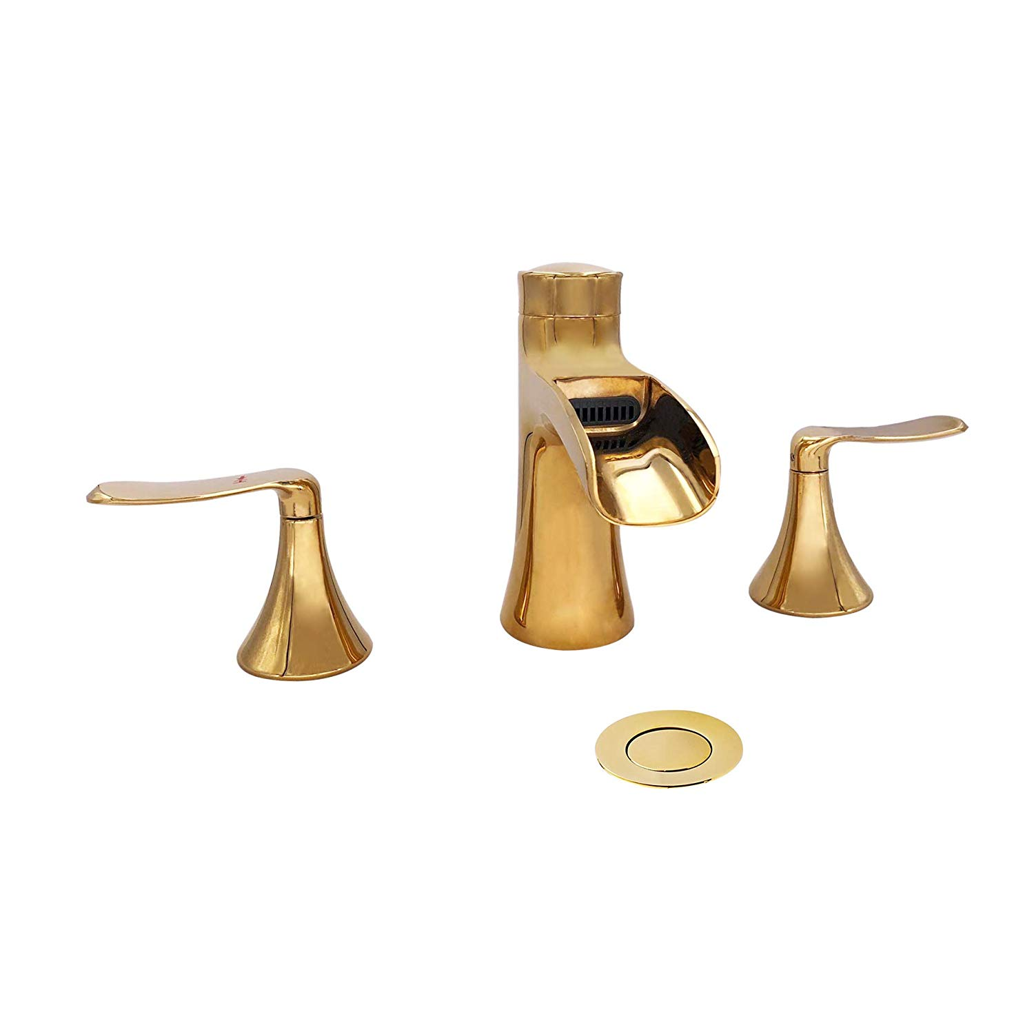 Wovier W 8416 G Widespread Waterfall Bathroom Sink Faucet, Gold Two Handle  Three Hole
